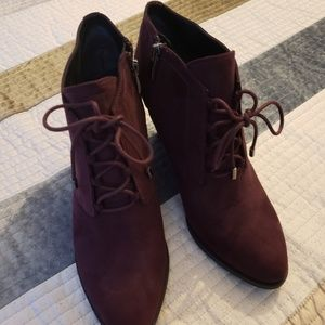 Nearly New Suede Burgundy Wedge Ankle Boots